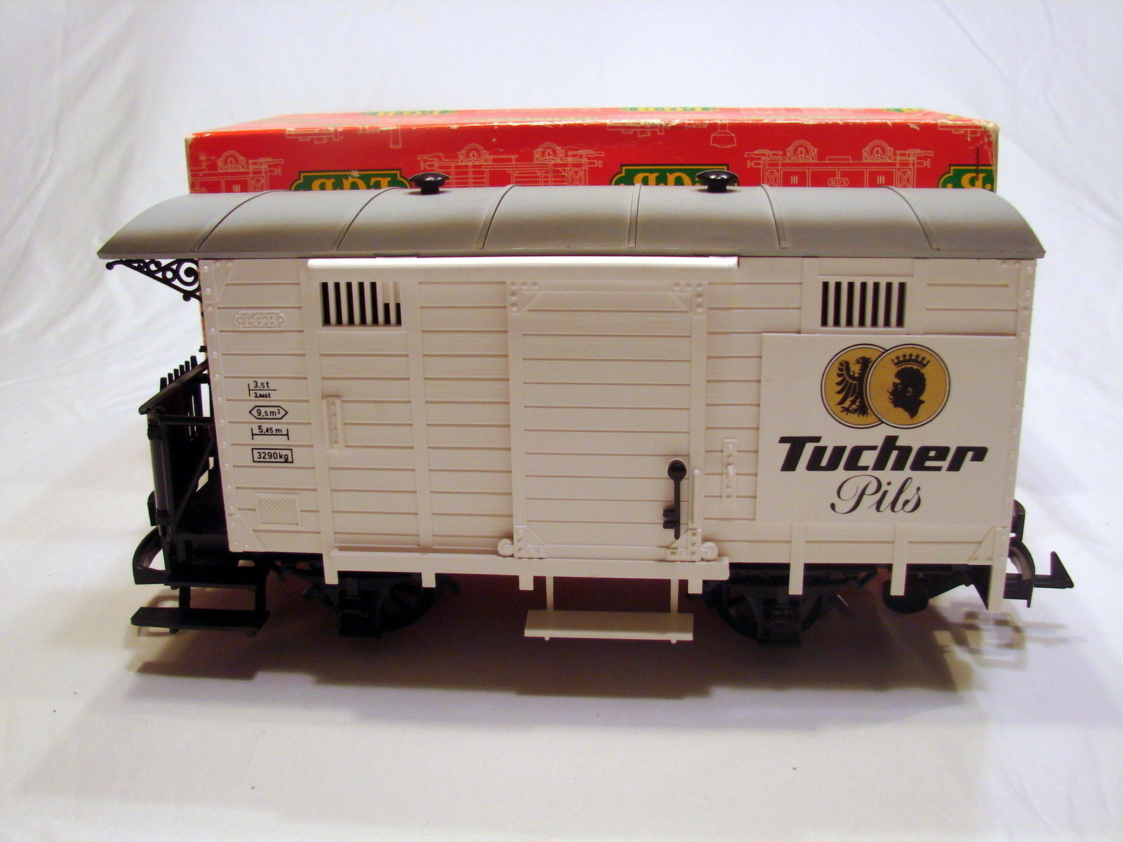LGB 4032 Tucher Pils Bierwagen Box Car With Brakesman Platform NIB Old Style Box