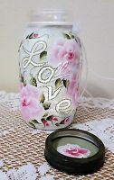 Roses Shabby Chic Mason Jar Love Candle Holder Cottage Style Hand Painted