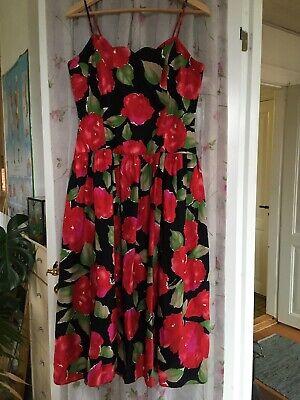 Zaza str 10 (38) Lang kjole lyserøde blomster