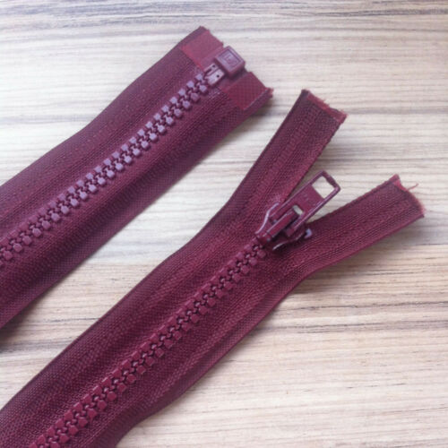 """BURGUNDY CHUNKY PLASTIC OPEN END ZIP No 5 weight 24/""""// 61 CM BEST QUALITY"""