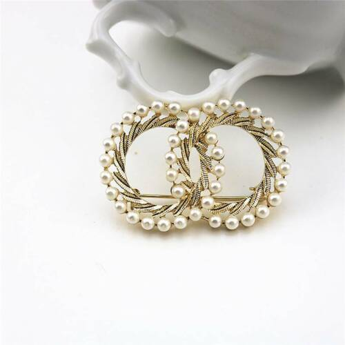 Shiny Gold Double Round Design Brooch With Imitation Pearl Costume Jewelry LP