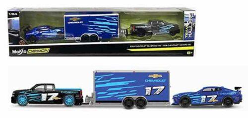 Maisto 1:64 Team Hauler A 2004 Chevy Silverado w// 2016 Chevy Camaro in Box