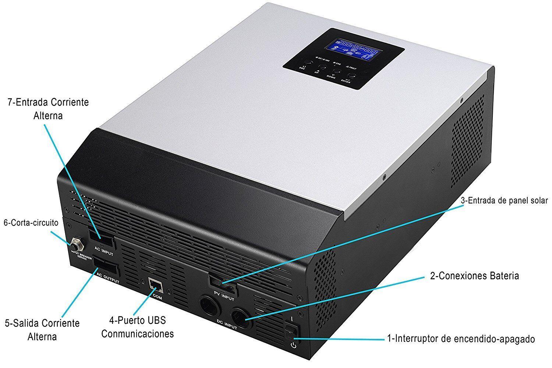 ConGrünidor Hybrido 3000va Del Seno DC 24V auf AC 230V LCD Cargador Regulador