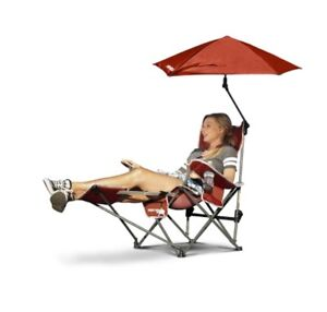 Image Is Loading Reclining Camping Chair With Footrest Red Umbrella Canopy