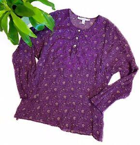 VOCABULARY Women's Large L Purple Long Sleeve Floral Blouse Shirt Top 100% Silk