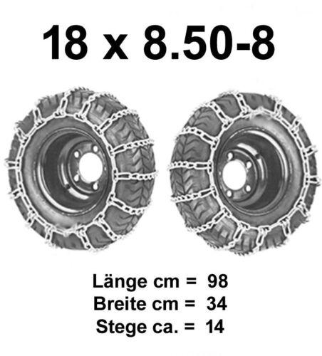 2 Schneeketten für Rasentraktor Rasenmäher  16x6.50-8   18x6.50-8   18x8.50-8