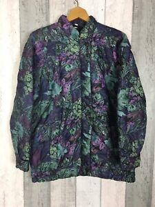 Vintage-harglenis-Purpura-Floral-Acolchado-acolchado-Bomber-Jacket-Size-UK-14