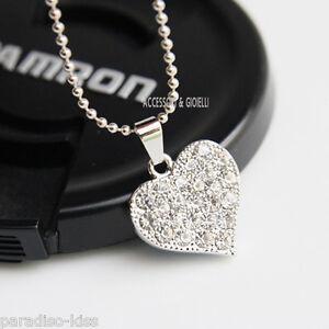 collana da donna ciondolo cuore strass bianchi A28