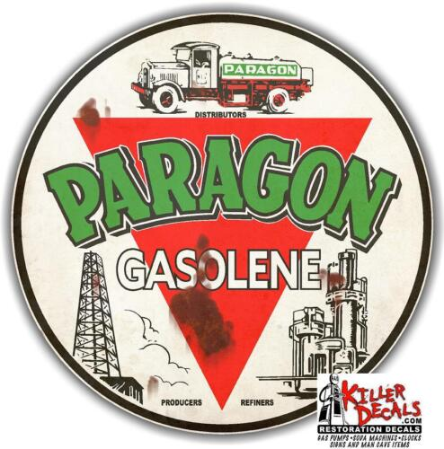 """8/"""" RUSTY PARAGON GAS GASOLINE GASOLENE MOTOR OIL LUBSTER OIL CAN DECAL"""