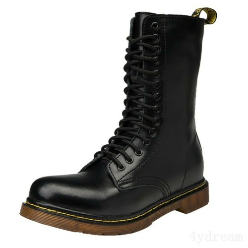 Mens Leather High Top Round Toe Vintage Lace Up Work Casual Combat Ankle Boots