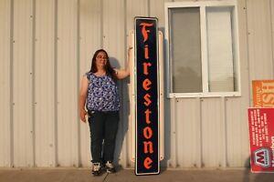"""Large Vintage 1947 Firestone Tires Gas Station 72"""" Embossed Metal Sign NICE"""