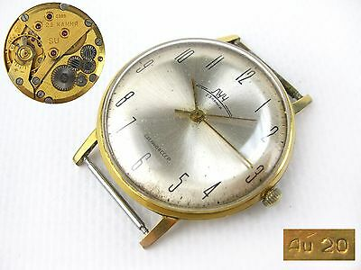 Vintage Wrist watch LUCH 2209 slim 23 jew AU20 mechanical men`s Soviet USSR