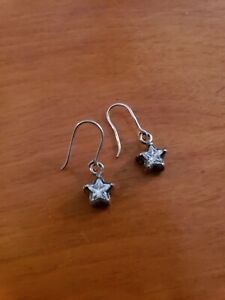 silver 925 Filigree stars earrings with cubic zirconia