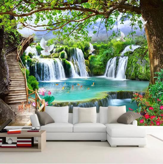3D Wall Murals Wallpaper Paint HD Waterfall Nature Landscape TV