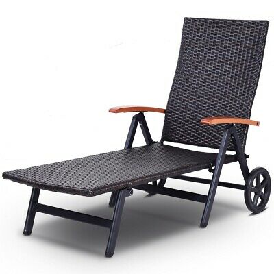 Remarkable Folding Chaise Lounge Chair With Wheels Adjustable Back Patio Pool Furniture Ebay Gmtry Best Dining Table And Chair Ideas Images Gmtryco