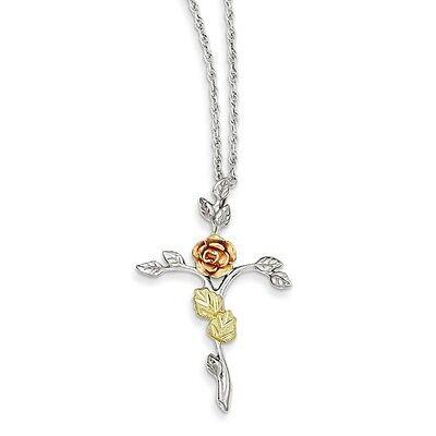 """Black Hills Gold® .925 Sterling Silver 12K Leaf Accents Rose Cross 18"""" Necklace"""