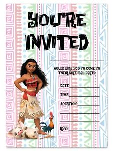 Image Is Loading MOANA BIRTHDAY PARTY INVITATIONS DISNEY PRINCESS INVITES CHILDREN