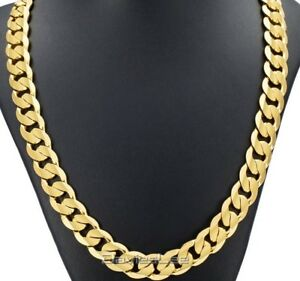 Heavy Mens 30 inch Gold Filled Stainless Steel Necklace Curb Link ... d83f03a7d733