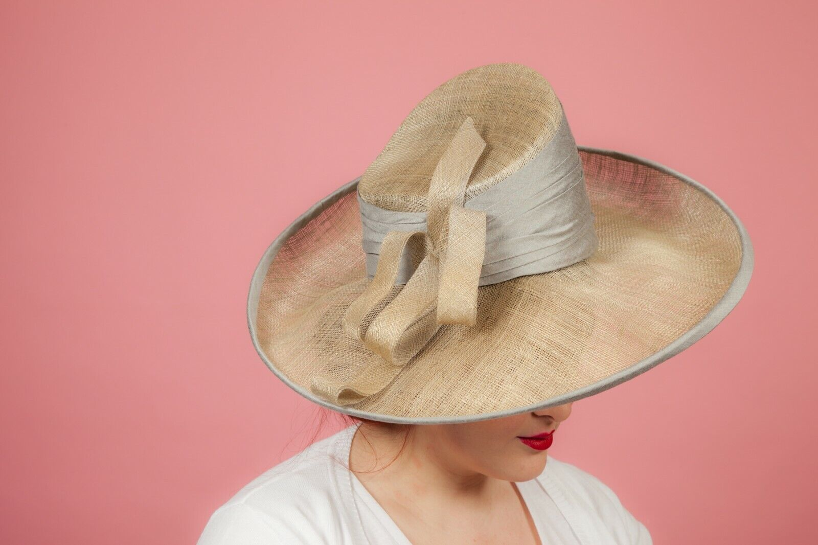 Oversized silver sinamay formal hat by Pamela Bromley