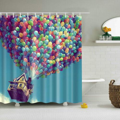 Shower Curtain Colorful Balloon Flying House Design Bath Curtains Set 12 Hooks
