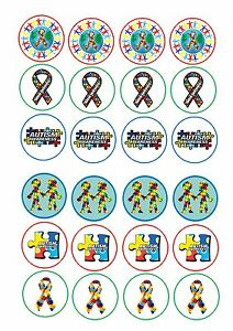 24-Edible-cake-toppers-wafer-rice-paper-Autism-Awareness