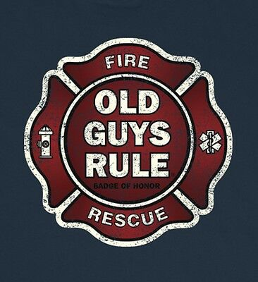 """OLD GUYS RULE """" BADGE OF HONOR """" FIRE AND RESCUE BEACH  S/S SIZE XL"""