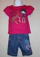 Old Navy Infant Girls Butterfly Denim Capri Pants + Two (2) T-shirts 6-12m