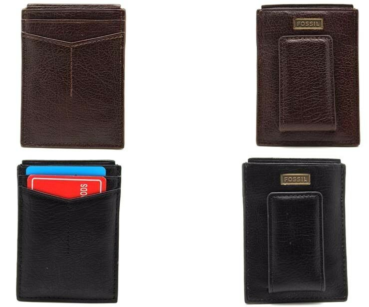 Id document holders mens accessories clothing shoes accessories fossil magnetic card case wallet ventage metal logo money clipper black brown colourmoves