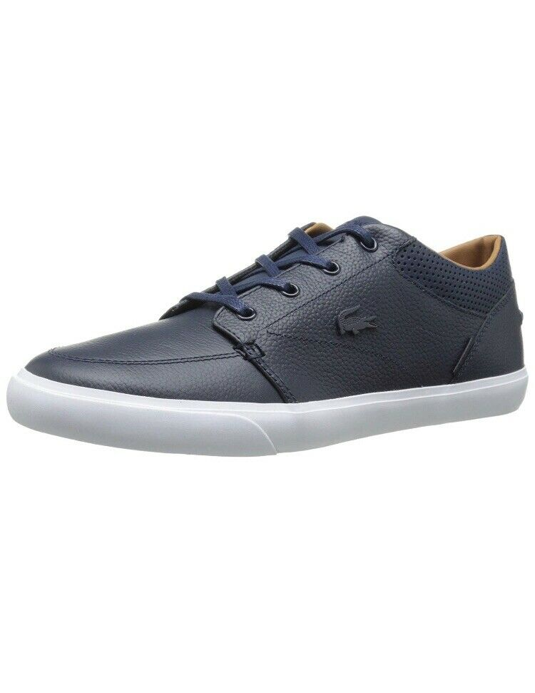 Men Lacoste Bayliss Vulc PRM Leather 7-30SPM0035DB4 Dark bluee Authentic Size 9.5