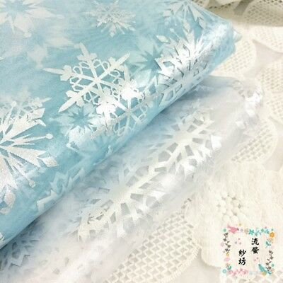 Sheer Organza Fabric Silver Snowflakes Voile Tutu Dress Clothes Curtain By Meter
