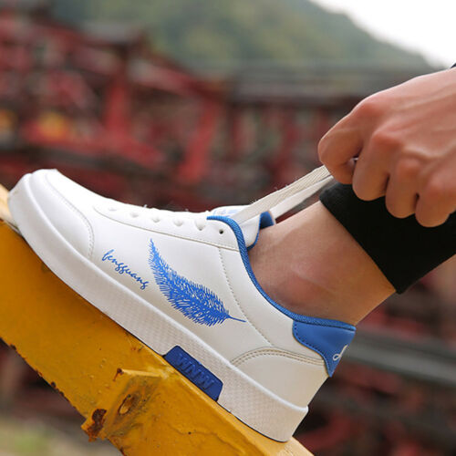Men/'s Lace Up Leather Sneakers Outdoor Sports Dancing Shoes Casual Comfy Flats@