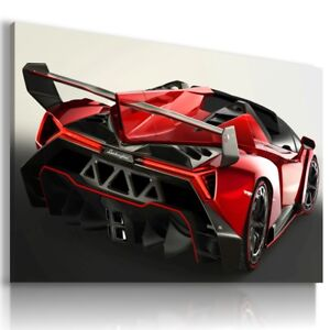 LAMBORGHINI VENENO RED Sports Cars Wall Art Canvas Picture  AU706  MATAGA .