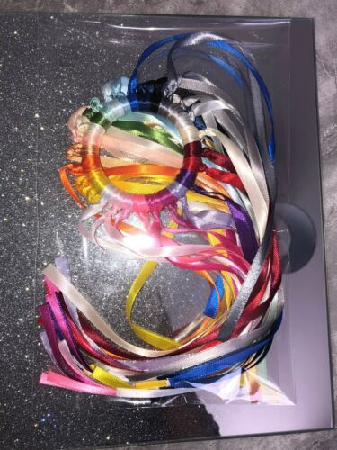 Wooden Montissori Baby Teething Ring Rainbow Sensory 27 Ribbons ADHD SEN Autism