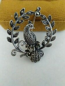 Vintage-Hallmarked-Bird-Of-Paradise-Sterling-Silver-Marcasite-Flower-Brooch-Pin