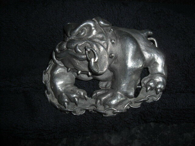 Pewter Bulldog with Chain in Mouth Belt Buckle