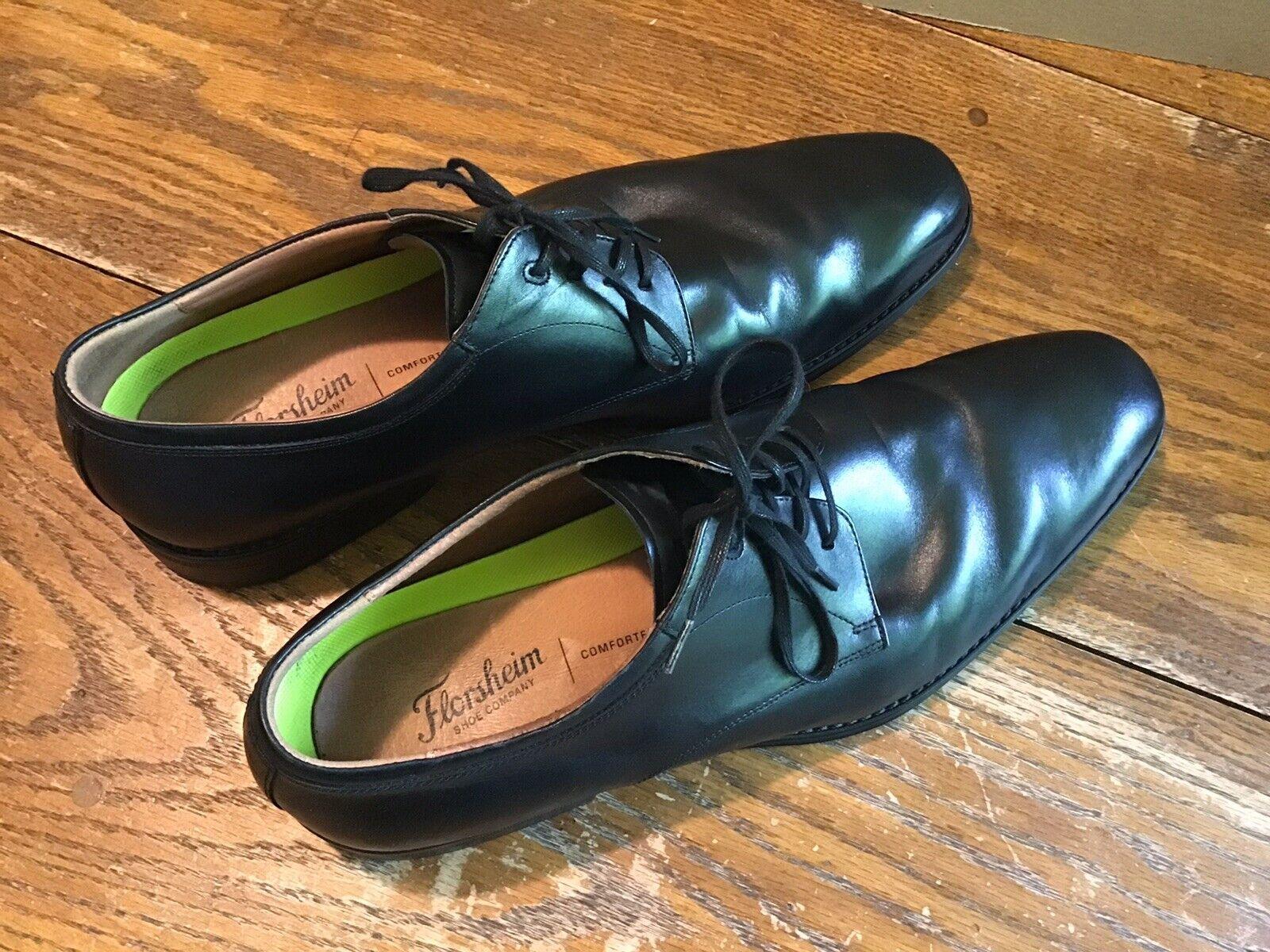 Florsheim Herren Comfortech Oxfords Leder Schwarz Schuhe Größe 13M EUC 14260