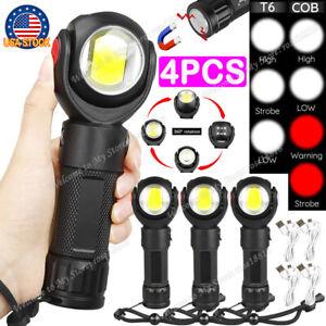 2pcs Rechargeable COB LED Portable USB Flashlight 360° Rotating Torch Light