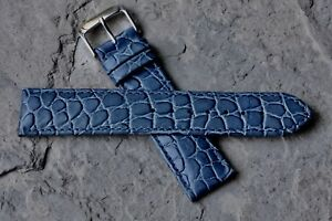 Great-texture-blue-stitched-leather-20mm-vintage-watch-band-1960s-70-NOS-Speidel