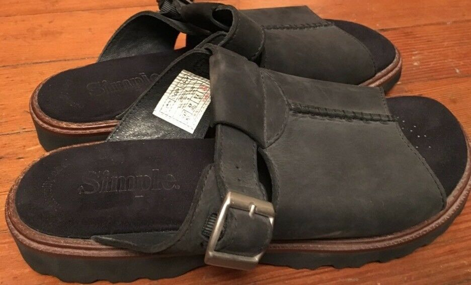 donna 10 SIMPLE'Planet Walkers'  nero Woven Leather Mule Comfort Clogs  prezzi bassissimi