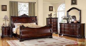 Details about Bellefonte Baroque Brown Cherry Queen Sleigh Bed 4 Piece  Bedroom Furniture Set