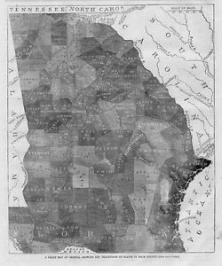 Map Of Georgia Showing Counties.Details About Chart Map Of Georgia Showing Percentage Of Slaves In Each County 1861 Slave Map