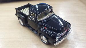 1956-Ford-f-100-Camioneta-Negro-Kinsmart-Modelo-Juguete-1-38-escala-COCHE-DE