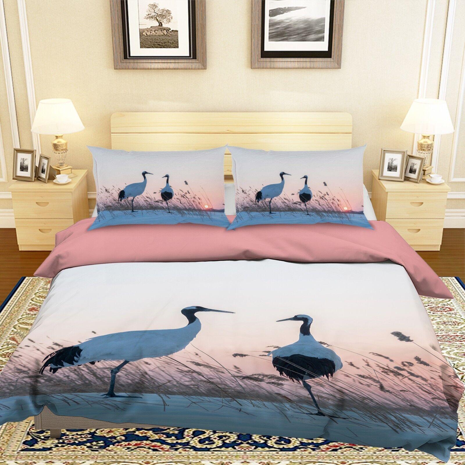 3D Weiß Crane 19 Bett Pillowcases Quilt Duvet Startseite Set Single König Größe UK