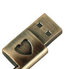 Véritable clé USB 16GB USB Mémoire Usb Métal Cuivre Pur Cœur clé clé USB