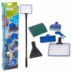 5-in-1-Aquarium-Glass-Tank-Cleaner-Maintenance-Tool-Kit-Fork-Fishnet-Sponge-NEW