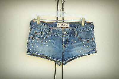 HOLLISTER Size 5 Booty Cut Distressed Ellipse Studs Hot Mini Denim Short Shorts