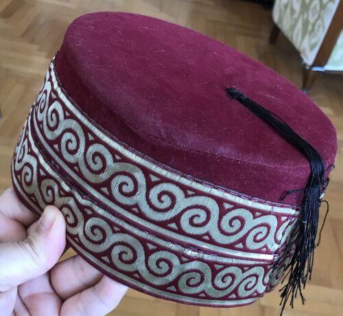 ORIENTAL EMBROIDERED FEZ TURKISH FES HANDMADE CAP OTTOMAN HAT FES TARBOOSH