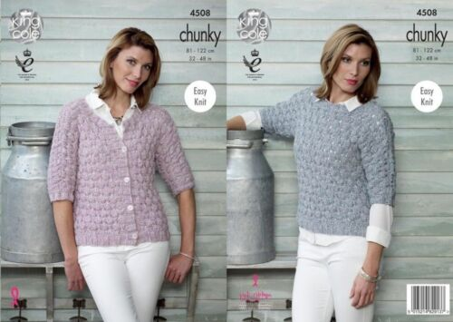 "Easy knit Top /&  Cardigan  32/""-48/"" King Cole Chunky  Knitting Pattern 4508"