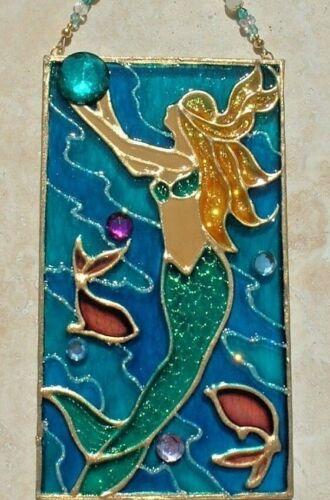 Mermaid Suncatcher Stain Glass Panel Coastal Ornament Beach Window Hanging