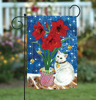 Toland - Amaryllis Kitty - Red Flower White Cat Bell Garden Flag